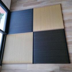 tapis Tatami japonais natte en paille de riz, noir ou beige, IBUKI