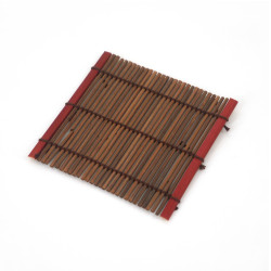 Kleine dunkle Bambusuntersetzer, EINIGE, rot