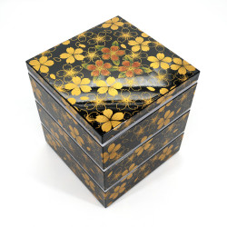 Large jyubako lunch box, HANA NO MAI, black and gold