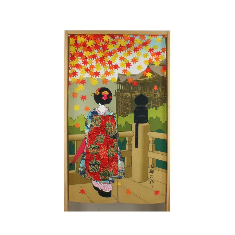 Japanese noren polyester curtain, MOMIJI GEISHA