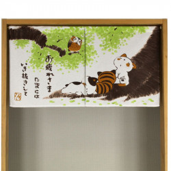 Japanese noren polyester curtain, NEKO TO FUKURO