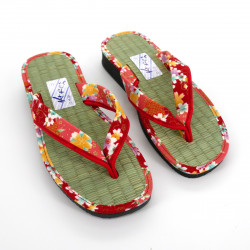 pair of Japanese zori sandals for women, GOZA 2530A, red