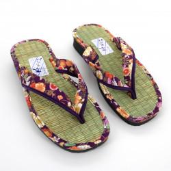 pair of Japanese zori sandals for women, GOZA 2530B, purple