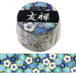 Large masking tape, blue flower, YUZEN WASHI TAPE