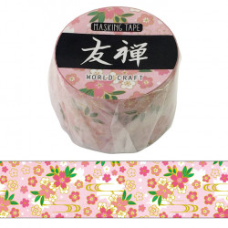 Large masking tape, Pink flower, YUZEN WASHI TAPE
