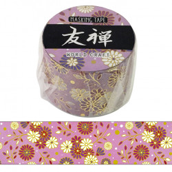 Large masking tape, Purple flower, YUZEN WASHI TAPE