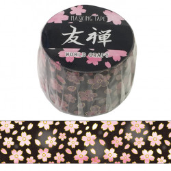 Large masking tape, Black flower, YUZEN WASHI TAPE