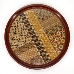 YOSEGI round tray, Hakone marquetery