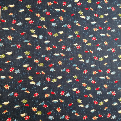 Japanese blue cotton fabric with turtle motif, KAME, made in Japan width 112 cm x 1m