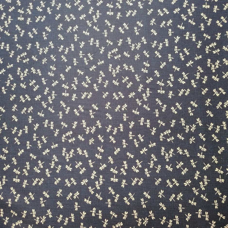 Japanese blue cotton fabric with dragonfly motif, TOMBO, made in Japan width 112 cm x 1m