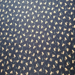 Japanese blue cotton rabbit motif fabric, USAGI, made in Japan width 112 cm x 1m