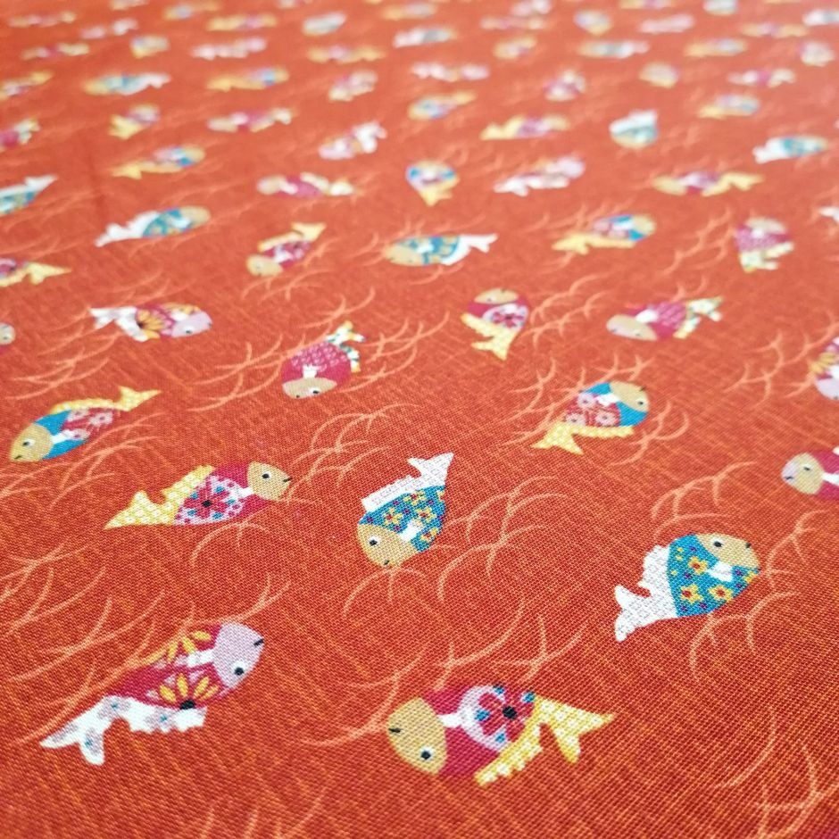 Japanese red cotton fabric with fish motif, KINGYO, made in Japan width 112 cm x 1m