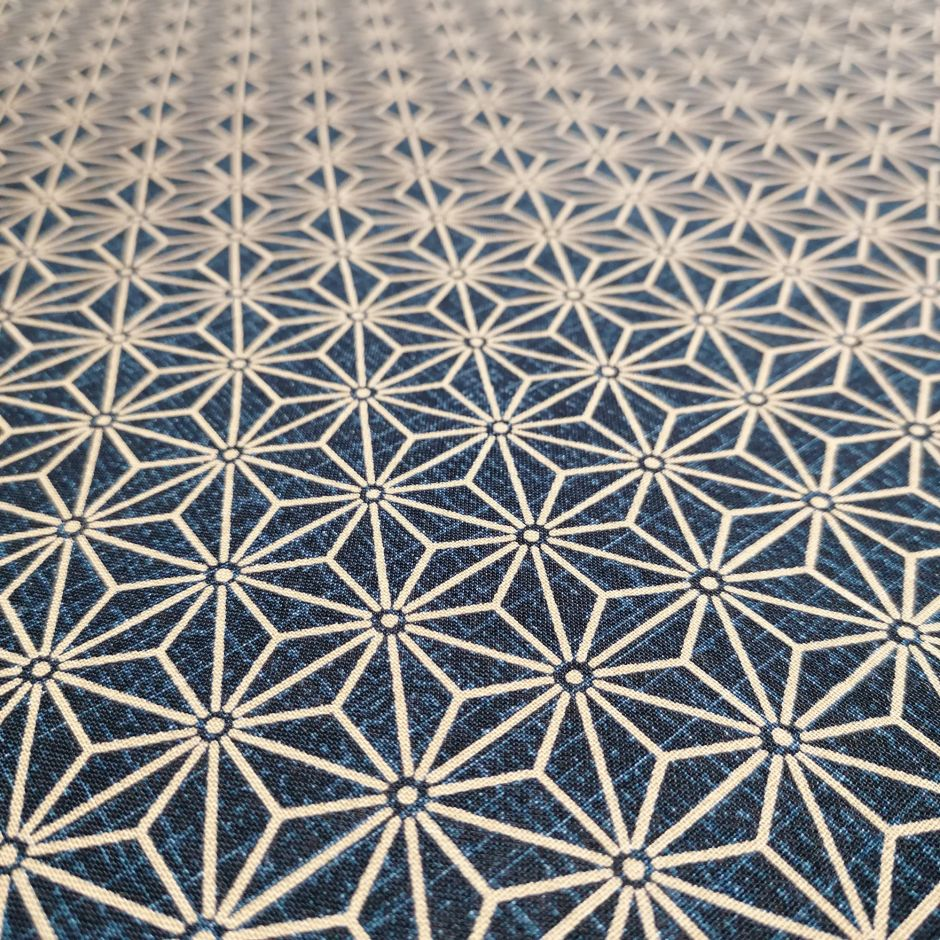 Japanese blue cotton fabric with asanoha pattern, ASANOHA, made in Japan width 112 cm x 1m