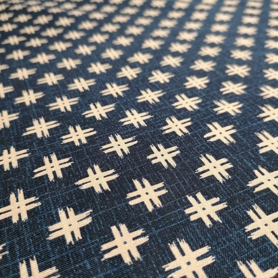 Japanese blue cotton fabric with well motif, IGETA, made in Japan width 112 cm x 1m