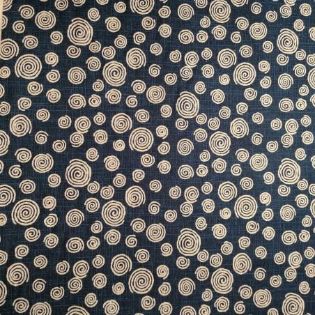Japanese blue cotton fabric with swirl pattern, UZUMAKI, made in Japan width 112 cm x 1m