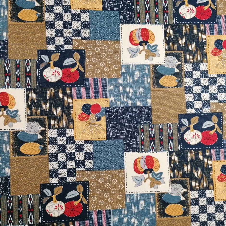Japanese blue cotton fabric with patchwork motif, PATCHIWAKU, made in Japan width 112 cm x 1m