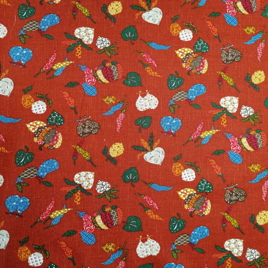 Japanese red cotton fabric with vegetable motif, YASAI, made in Japan width 112 cm x 1m