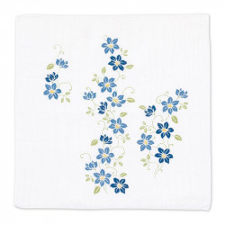 Japanese handkerchief, KUREMACHISU, Clematis blue