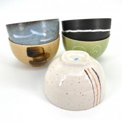 set of 5 japanese bowls Donburi CRAFT, 5 colors