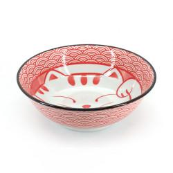 Japanese ceramic ramen bowl - AO MANEKINEKO - cat motif