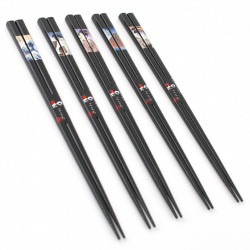 Set of 5 Japanese chopsticks in natural wood - WAKASA NURI UKIYO-E