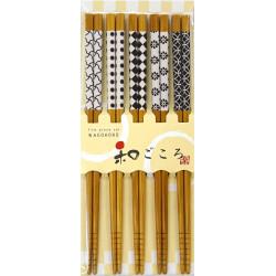 Set of 5 Japanese chopsticks in natural wood - KURASHIKKU