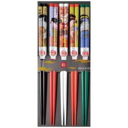Set of 5 Japanese chopsticks in natural wood - UKIYO-E