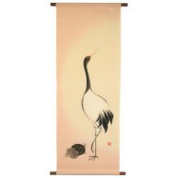 Hemp tapestry, hand painted, TSURU TO KAME