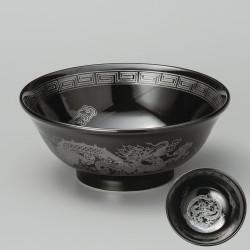 japanese black silver dragon râmen bowl KURO UWAGUSURI GIN RYÛMON