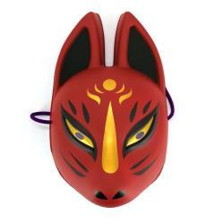 Máscara de zorro tradicional japonesa, KITSUNE, rojo y dorado