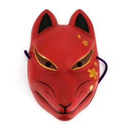 Traditionelle japanische Fuchsmaske, KITSUNE, Rot- und Kirschblüten