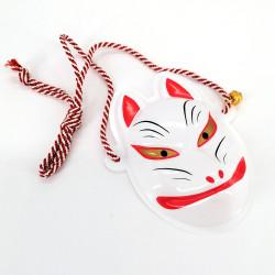 Traditional Japanese fox mini mask, KITSUNE, white and golden eyes