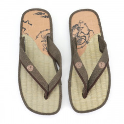 pair of Japanese sandals - Zori straw goza for men, FUJIN RAIJIN