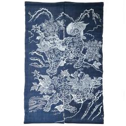 Japanese handcrafted noren curtain, indigo blue, 100% Ramie, KOMAINU
