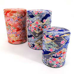 Blue or red Japanese tea box in washi paper, YUZEN SAYAGATA, 40 g or 100 g