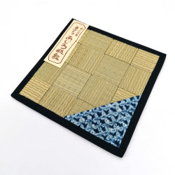 Square tatami trivet / teapot 16 x 16 cm, AOMI, Random blue pattern