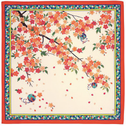 Japanese polyester furoshiki, SAKURATEMARI, white