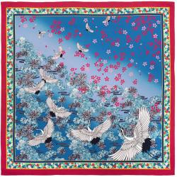 Japanese polyester furoshiki, HANATSURU, blue