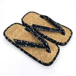pair of Japanese sandals zori seagrass, MOTIFS