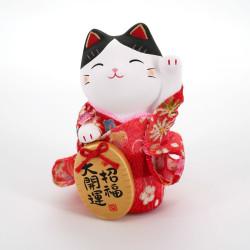 Pink ceramic manekineko cat, KIMONO SHOFUKU, left paw