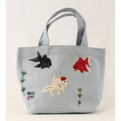 Small white Japanese cotton tote bag, KINGYO