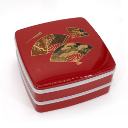 Large jyubako lunch box, MIYABI, red