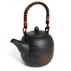 Japanese ceramic teapot with handle, KUROCHA, black and brown