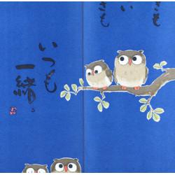 japanese blue noren curtain owls 85 x 170 cm TANOSHII TOKI MO