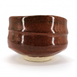 Japanese red tea bowl for ceremony, SABI, rust