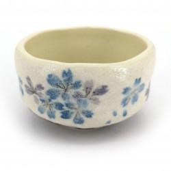 Japanese tea bowl for ceremony, SAKURA, blue