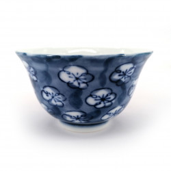 japanese blue teacup in ceramic UME blue flowers
