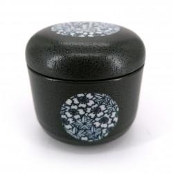 Japanese black tea cup with lid in ceramic SAKURA MOMIJI cherry blossoms
