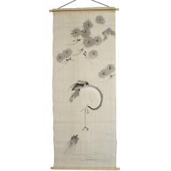 tapisserie japonais en lin Crane & Turtle