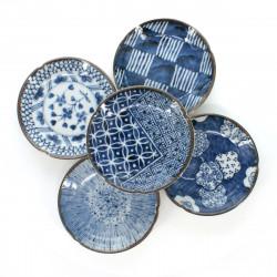 5 little dishes set with patterns blue SOME KÔBÔ